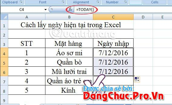cách lấy ngày hiện tại trong Excel